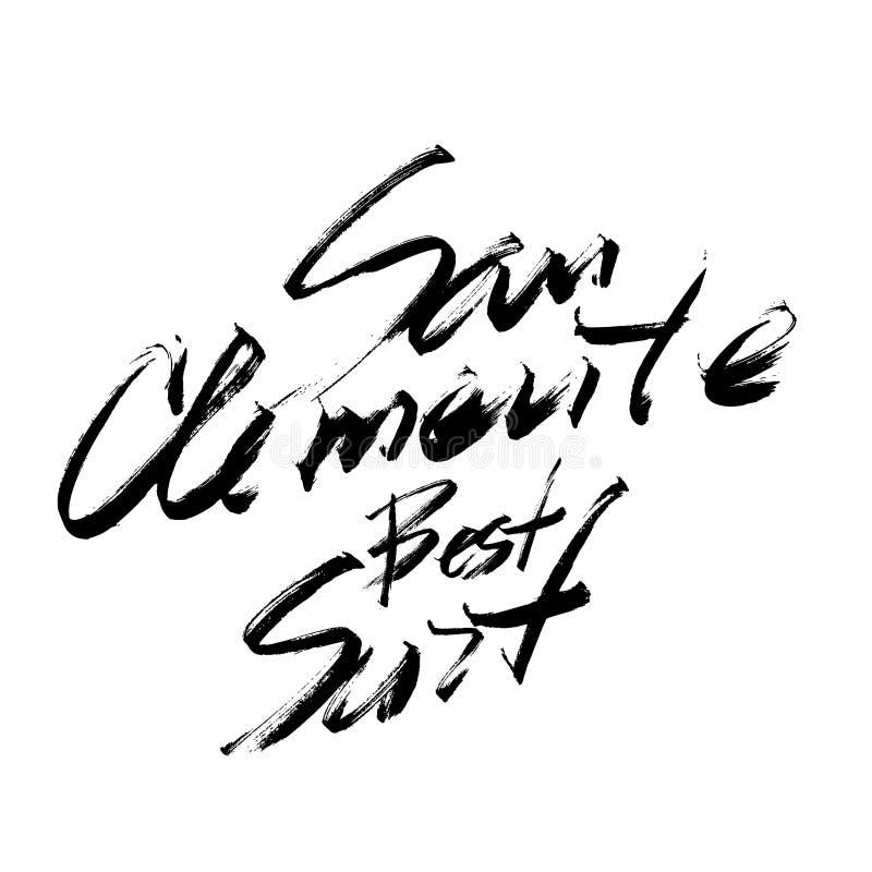 圣克莱芒特最佳的海浪字法刷子墨水剪影手拉的serigraphy印刷品 库存例证