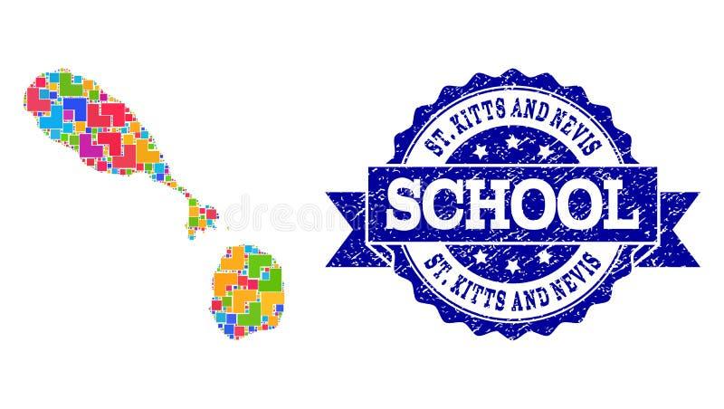 圣克里斯多福与尼维斯军用镶嵌地图和困厄学校邮票构成 库存例证