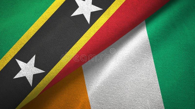 圣克里斯多福与尼维斯和科特迪瓦象牙海岸两旗子织物 向量例证