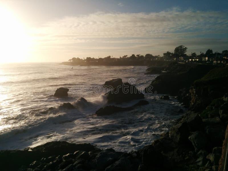 圣克鲁斯加利福尼亚黄昏 免版税库存照片