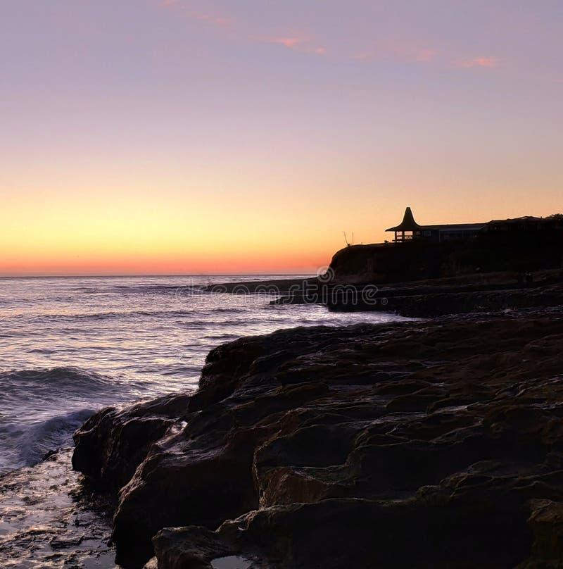 圣克鲁斯秀丽在日落以后的 免版税库存照片