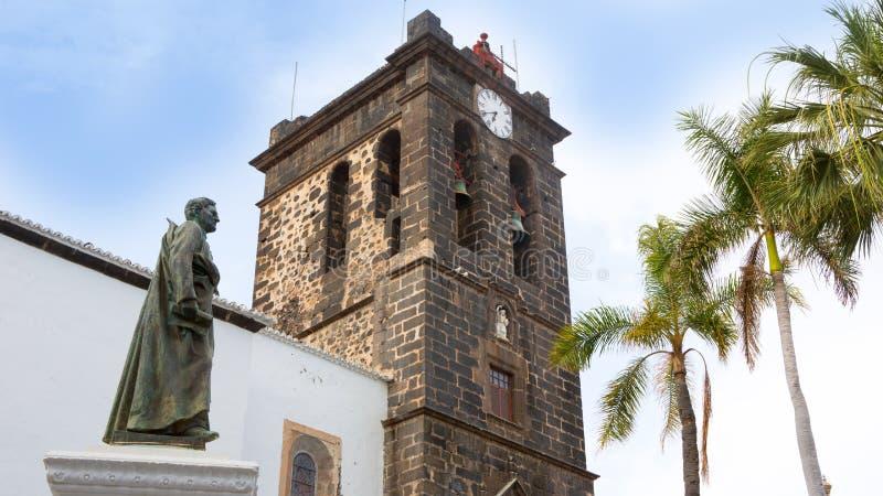 圣克鲁斯de拉帕尔马岛Plaza de西班牙Iglesia 免版税库存照片