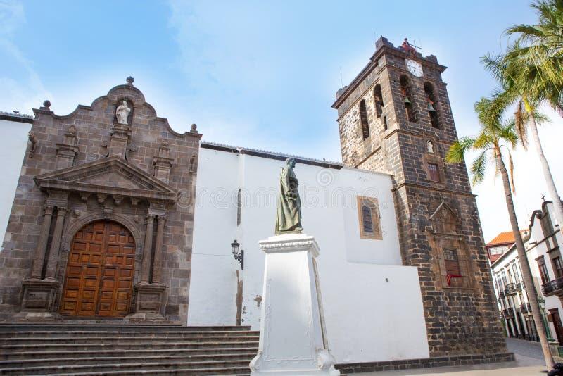 圣克鲁斯de拉帕尔马岛Plaza de西班牙Iglesia 图库摄影