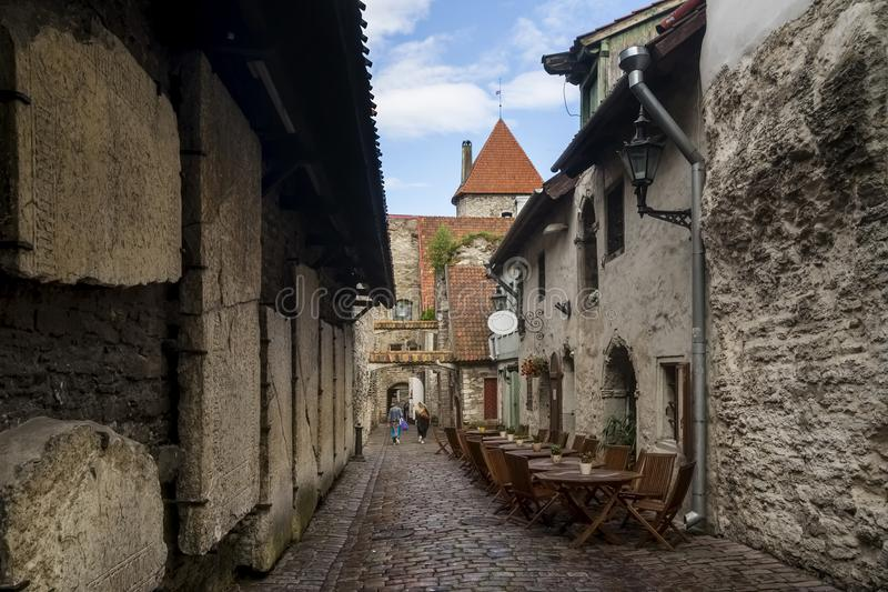 圣凯瑟琳Katariina käik著名段落的美丽的景色在老镇塔林,爱沙尼亚 免版税图库摄影