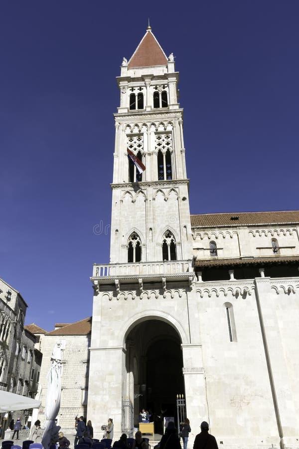 圣劳伦斯大教堂在历史的市特罗吉尔,克罗地亚 图库摄影