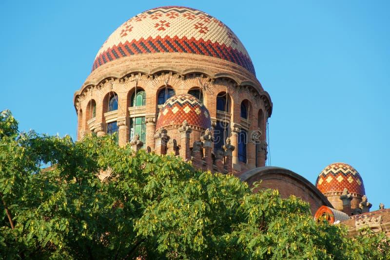 圣十字圣保罗医院的圆顶在巴塞罗那 库存照片