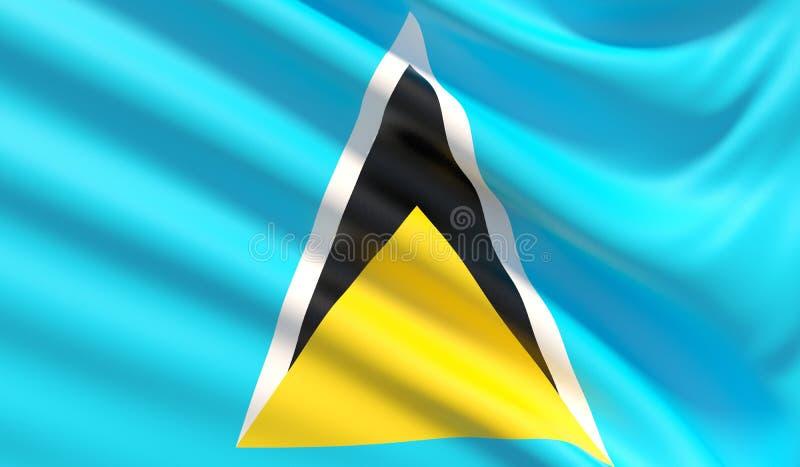 圣卢西亚的旗子 r 3d?? 皇族释放例证