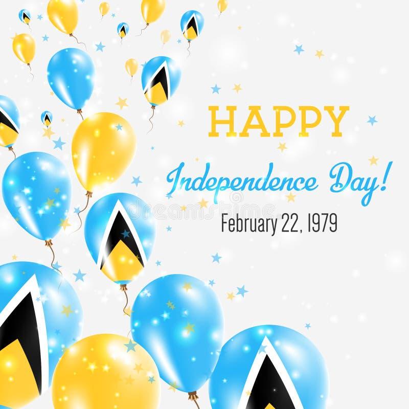 圣卢西亚美国独立日贺卡 库存例证
