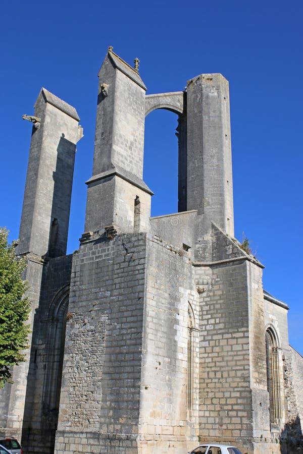 圣吉恩D `昂热利,法国被破坏的修道院  免版税图库摄影