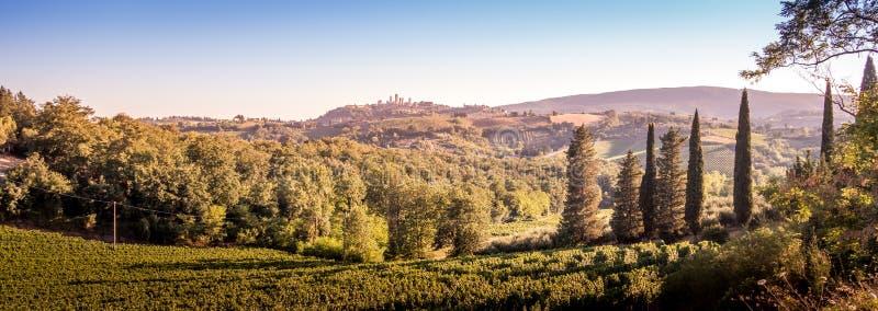 圣吉米尼亚诺中世纪镇耸立地平线和乡下风景全景日落的 托斯卡纳 免版税库存照片