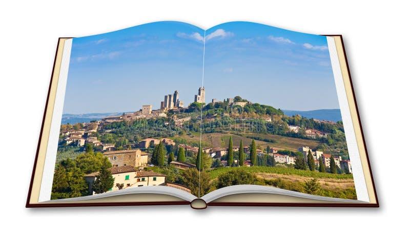 圣吉米尼亚诺意大利-托斯卡纳的中世纪镇的美丽的景色- 3D在白色隔绝的回报一本被打开的照片书 免版税库存图片