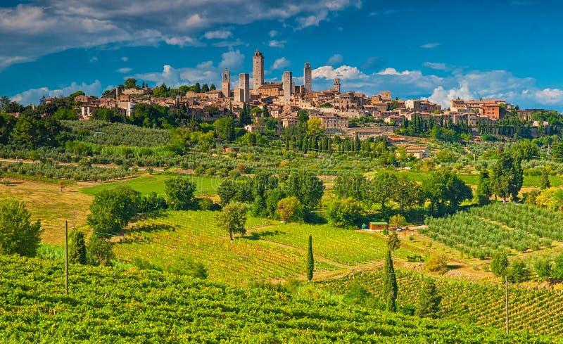 圣吉米尼亚诺,其中一个意大利的最好的村庄 免版税库存照片