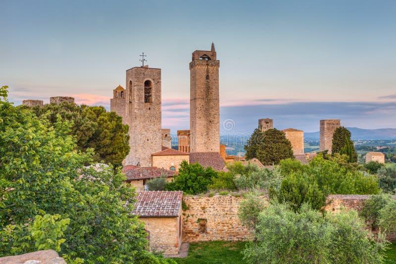 圣吉米尼亚诺,托斯卡纳,意大利塔  免版税库存图片