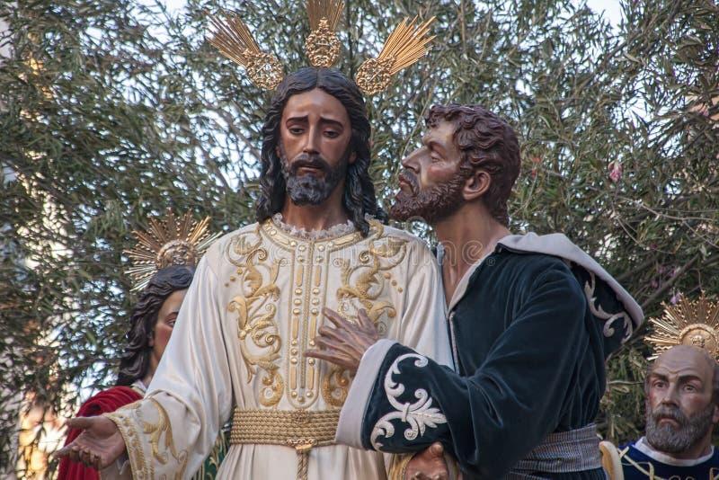 圣周在塞维利亚, Judas亲吻 免版税图库摄影
