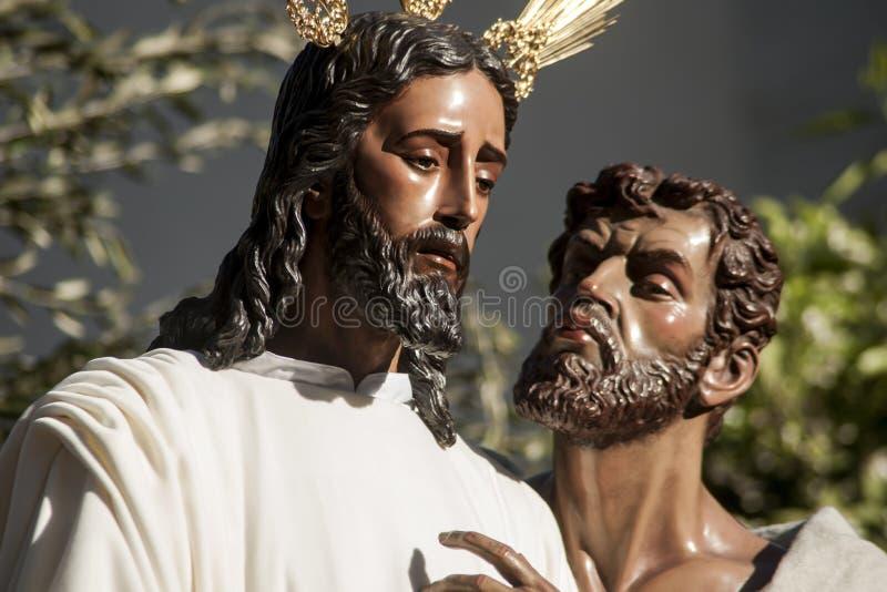 圣周在塞维利亚, Judas亲吻 免版税库存照片