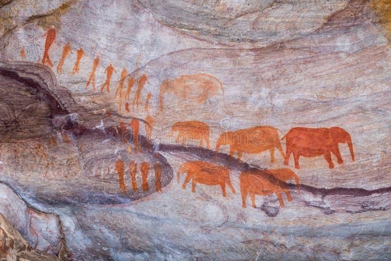 圣在Stadsaal洞的岩石艺术在塞德伯格山 库存照片