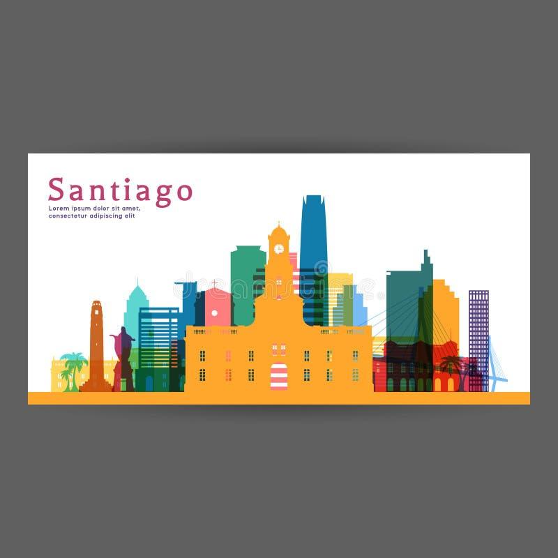 圣地亚哥五颜六色的建筑学传染媒介例证 库存例证