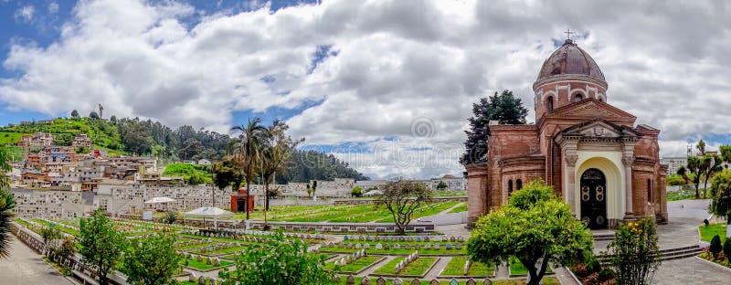 圣地亚哥公墓基多壮观的视图陈列 免版税库存照片