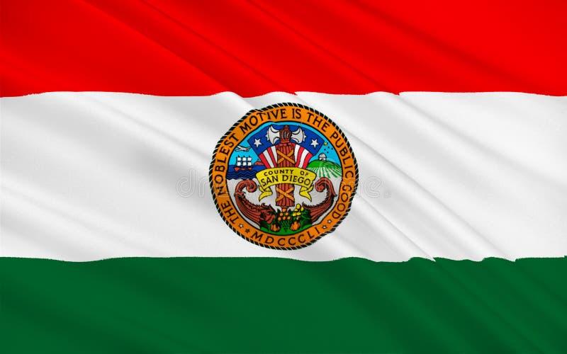 圣地亚哥县,加利福尼亚,美国旗子  库存例证