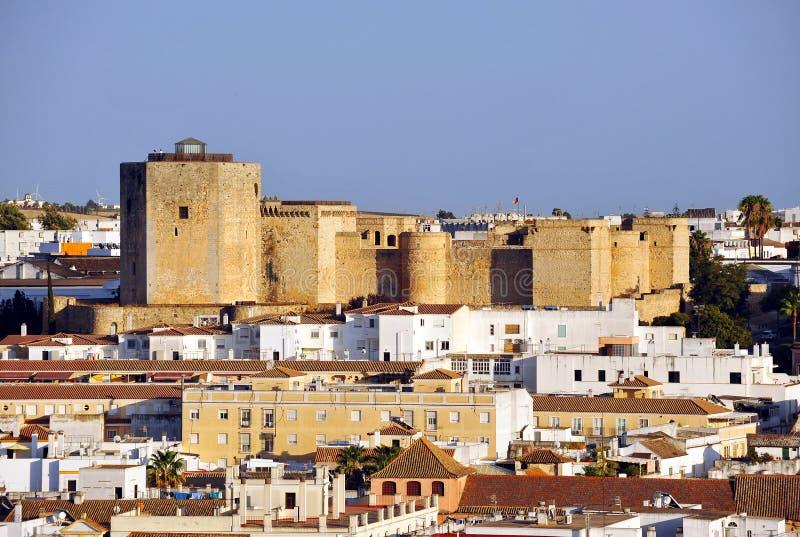圣地亚哥城堡在Sanlucar de Barrameda,卡迪士,西班牙省  免版税库存照片