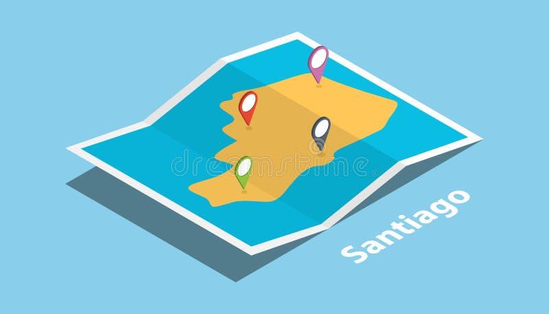 圣地亚哥市在菲律宾探索与等量样式和别针地点标记的地图在上面 库存例证