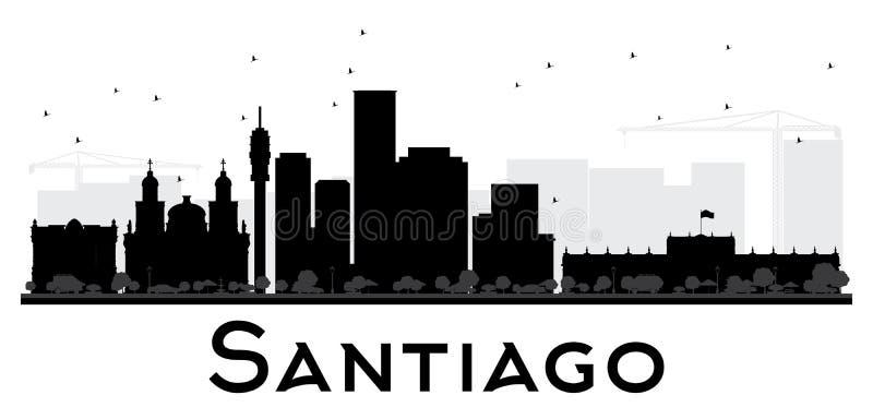 圣地亚哥市地平线黑白剪影 向量例证