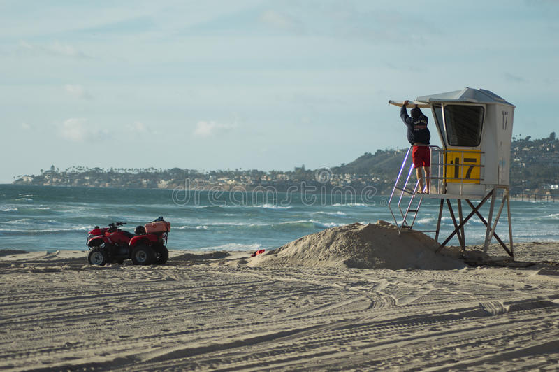 圣地亚哥救生员 免版税库存照片