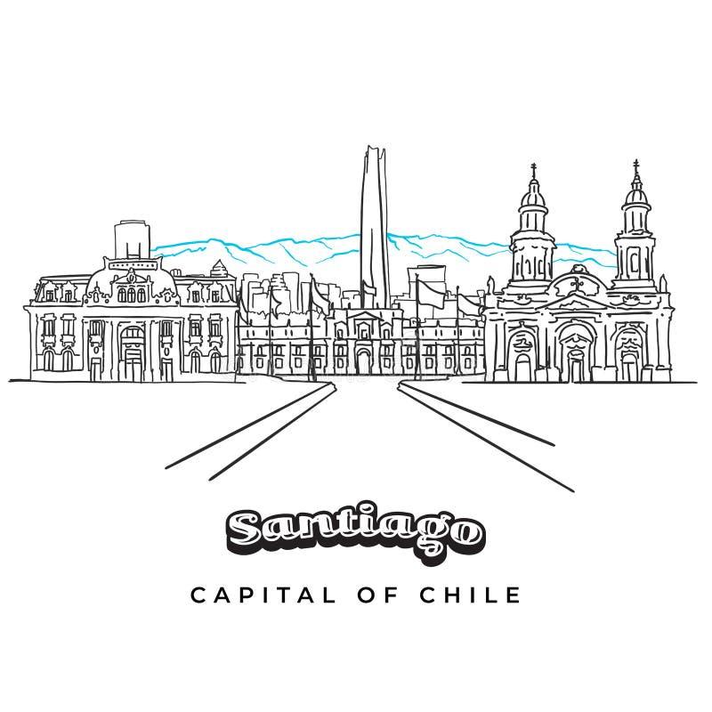 圣地亚哥智利与山的全景风景 库存例证