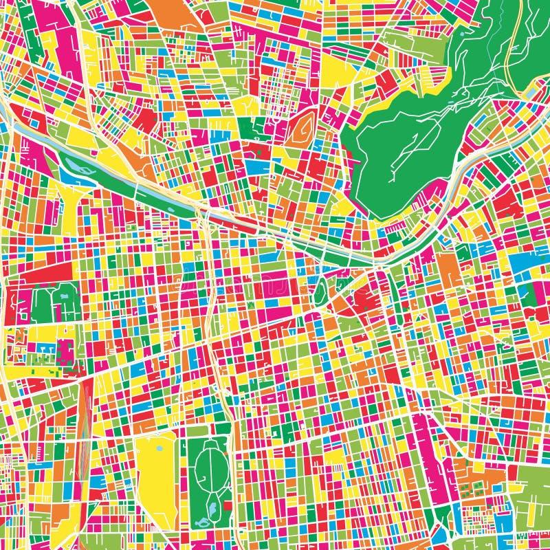 圣地亚哥智利五颜六色的地图模板 向量例证