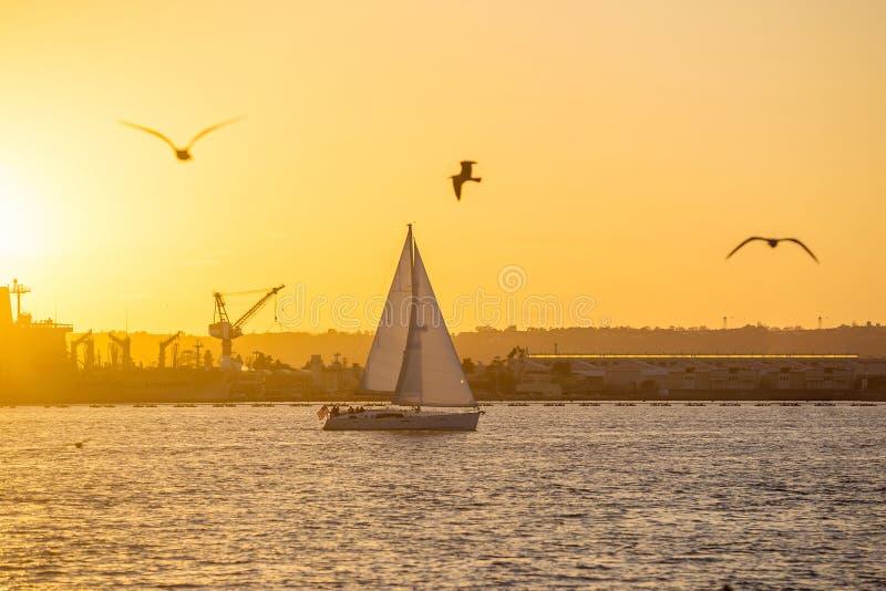 圣地亚哥江边公园、小游艇船坞和圣地亚哥Skyli 图库摄影