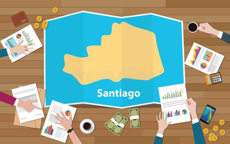 圣地亚哥菲律宾亚洲市区域与队的经济成长谈论在折叠从上面的地图视图 库存例证