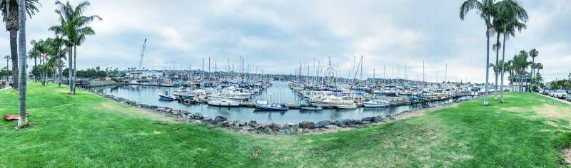 圣地亚哥,加州- 2017年7月29日:风雨棚小海湾Ma全景  免版税库存图片
