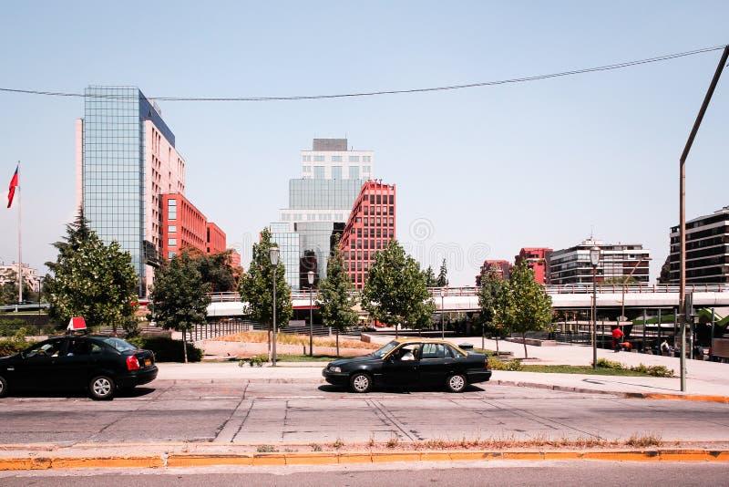 圣地亚哥,智利街道和大厦  免版税库存图片