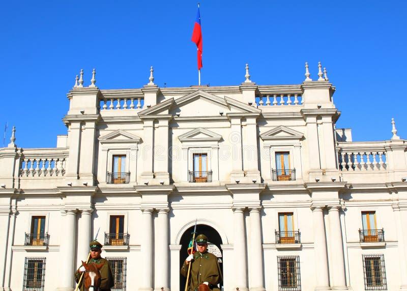 圣地亚哥,智利- 6月15 :La Moneda宫殿街市圣地亚哥, C 免版税库存照片