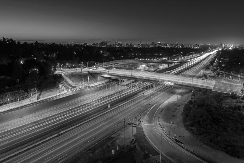 圣地亚哥405高速公路黑白的洛杉矶 免版税图库摄影