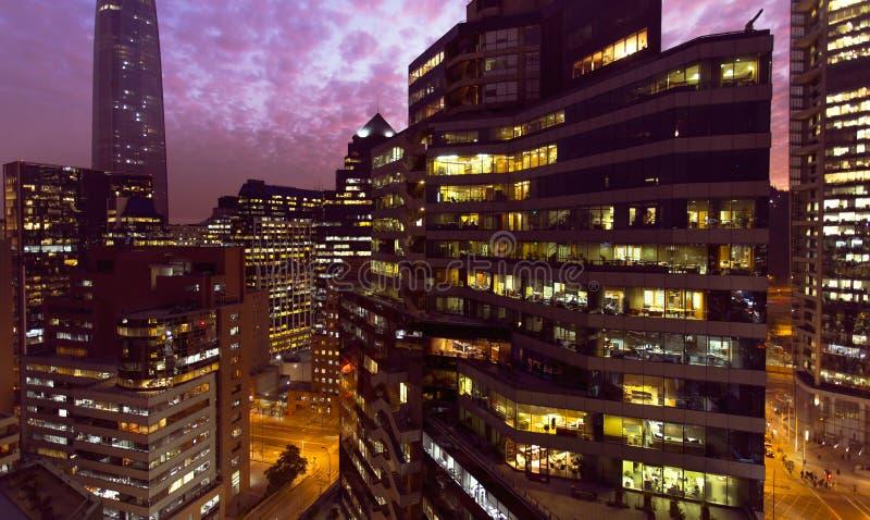 圣地亚哥de智利夜间 免版税库存图片