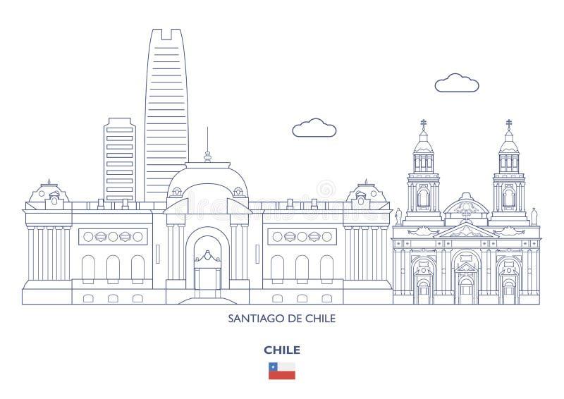 圣地亚哥De智利市地平线,智利 向量例证