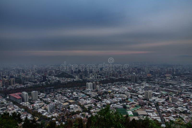 圣地亚哥de智利市超长的曝光 免版税库存照片