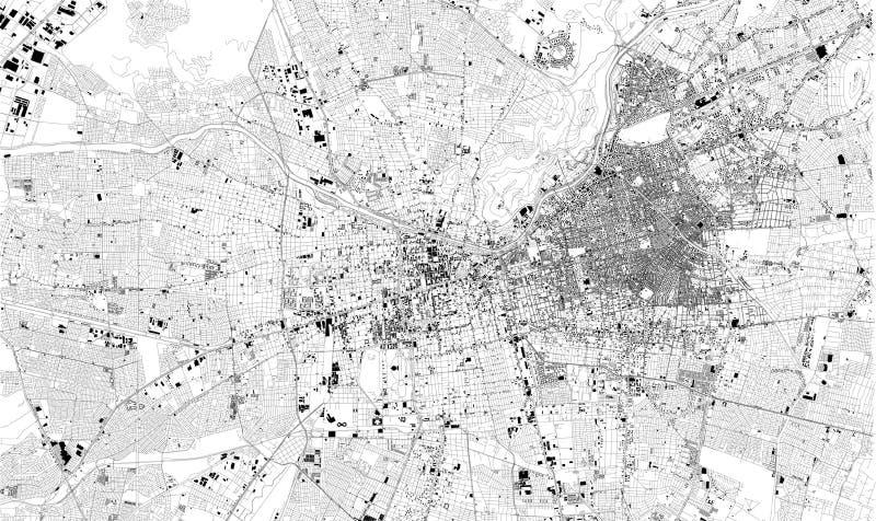 圣地亚哥de智利,智利卫星地图市街道 街道地图,市中心 向量例证