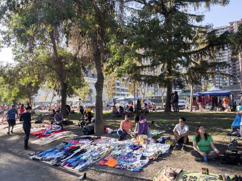 圣地亚哥DE智利,智利, 2月12日 2017年,市场在公园,智利, 2月12日 2017年 免版税库存照片