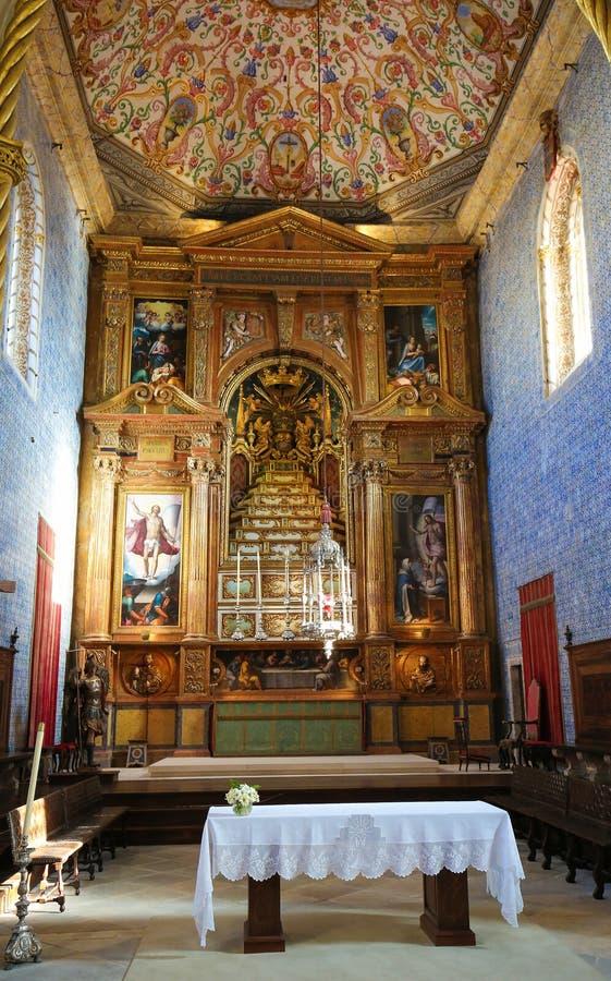 圣地科英布拉大学的米格尔教堂,葡萄牙 库存照片