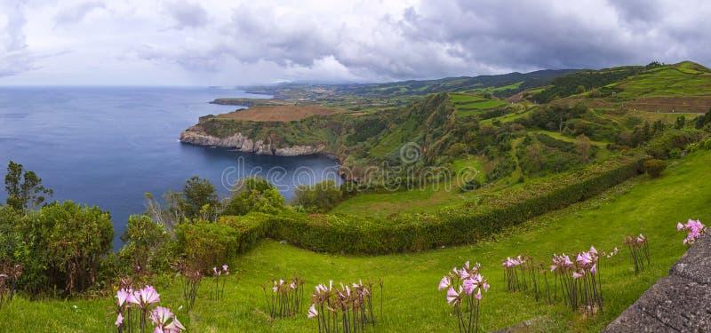 圣地米格尔海岛,亚速尔群岛, Po北海岸美丽如画的看法  免版税库存照片