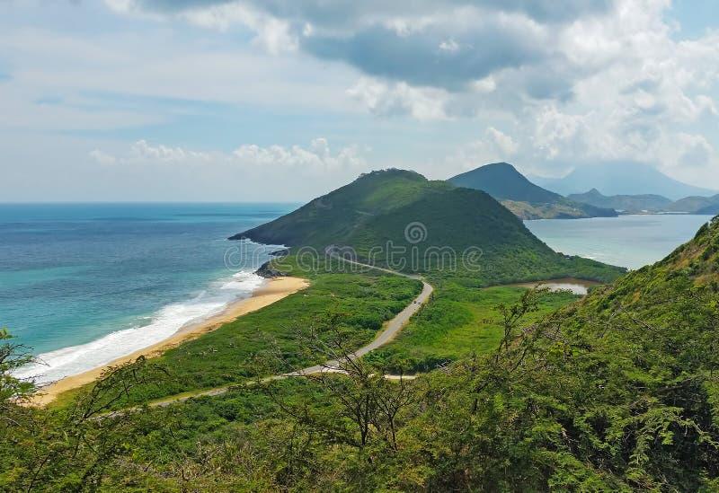 圣基茨在加勒比的观点 免版税库存图片
