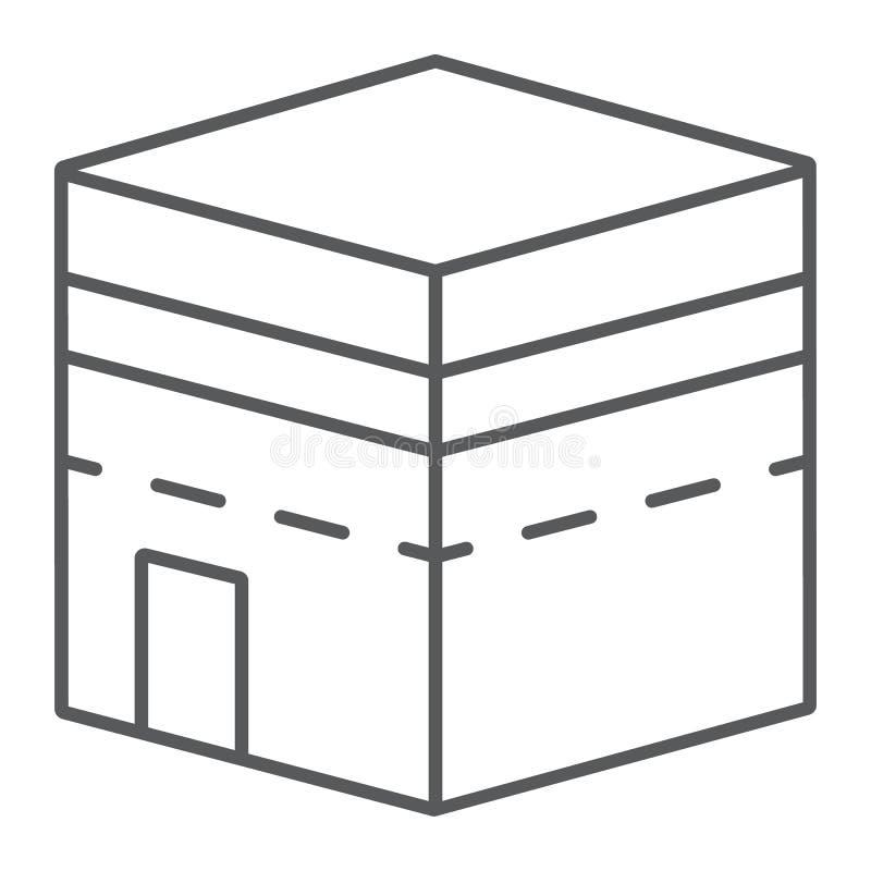 圣堂麦加稀薄的线象,伊斯兰教和文化,大厦标志,向量图形,在白色背景的一个线性样式 库存例证