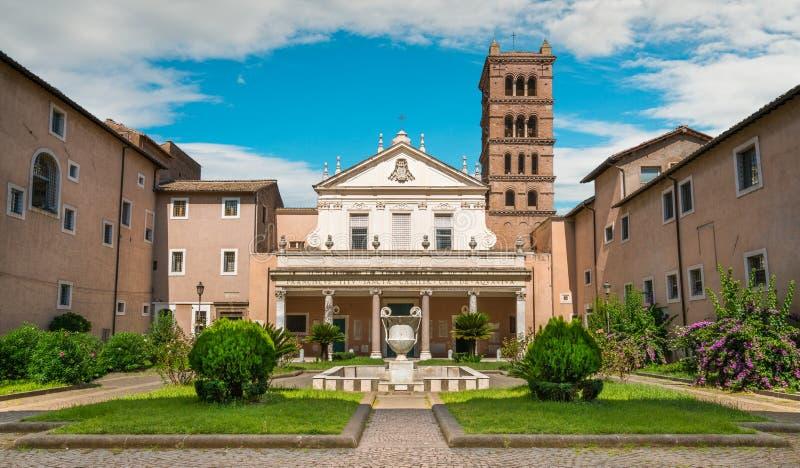 圣塔切奇利娅大教堂在Trastevere,罗马,意大利 库存照片