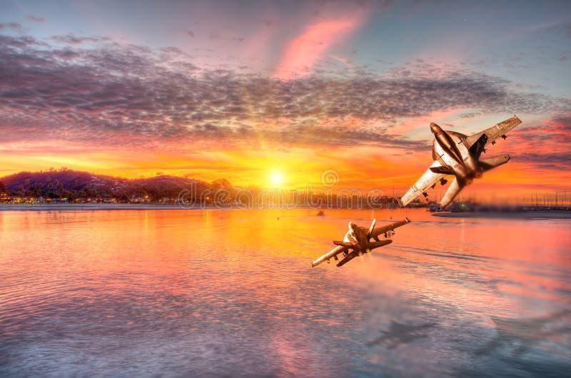 圣塔蒙尼卡全景日落的 免版税库存图片