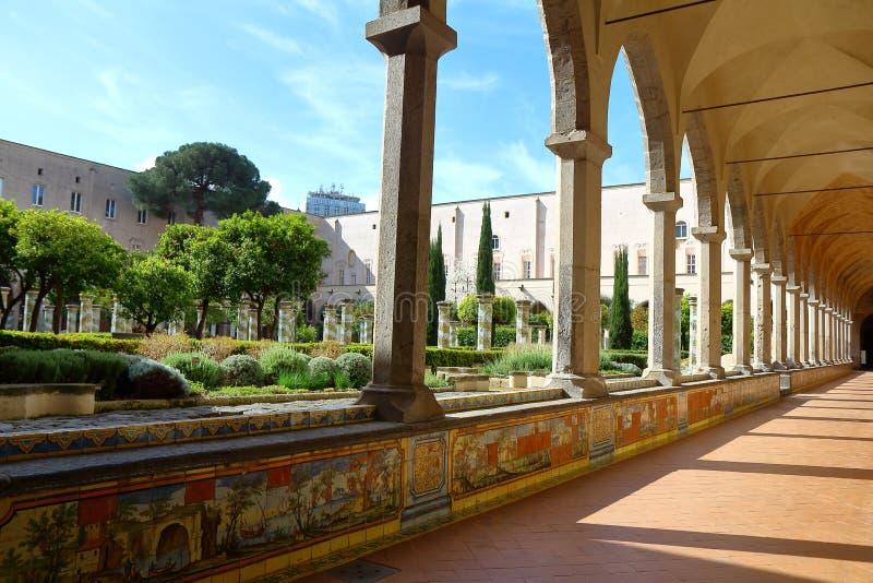 圣塔Chiara修道院,那不勒斯,意大利 免版税图库摄影