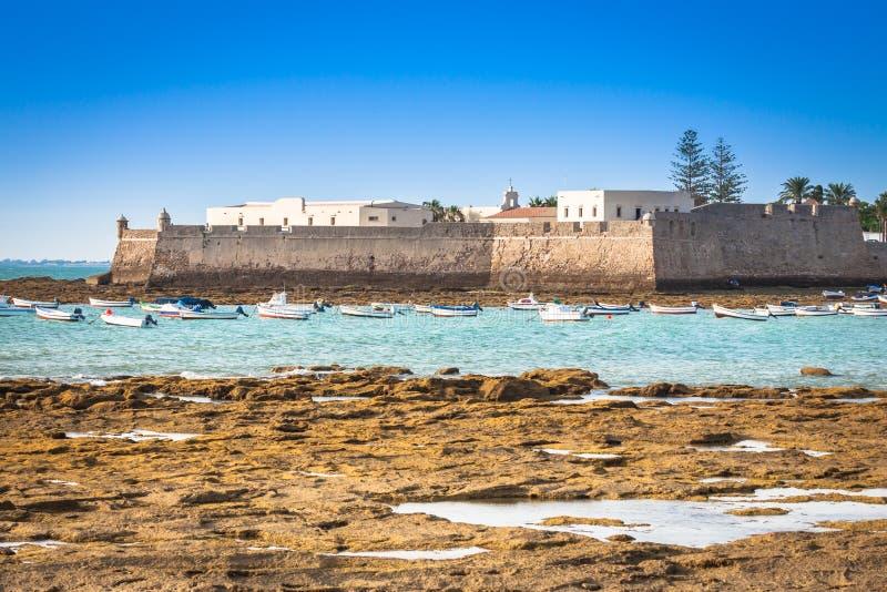 圣塞瓦斯蒂安城堡,卡迪士,西班牙 库存照片