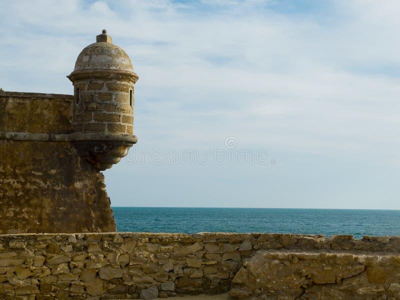 圣塞瓦斯蒂安城堡 卡迪士,安大路西亚 西班牙 图库摄影