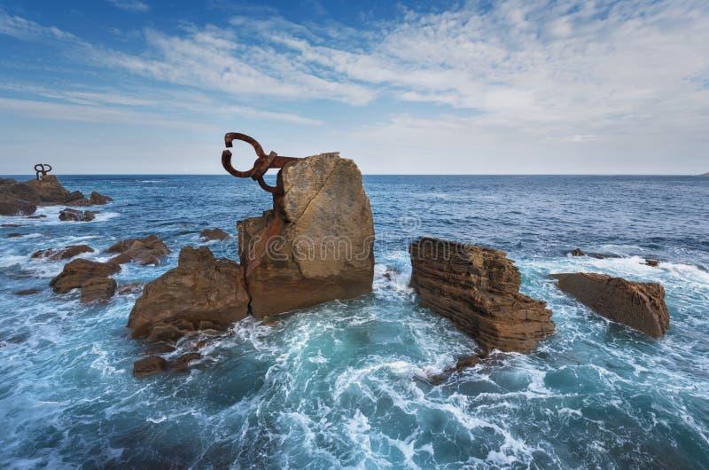 圣塞瓦斯蒂安海岸线风景,巴斯克国家,西班牙 库存照片